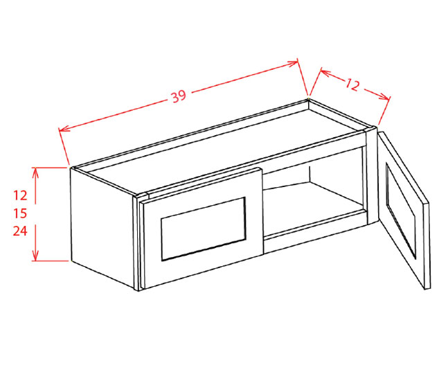 W3915 Bridge Cabinet 39 inch by 15 inch Sheffield White