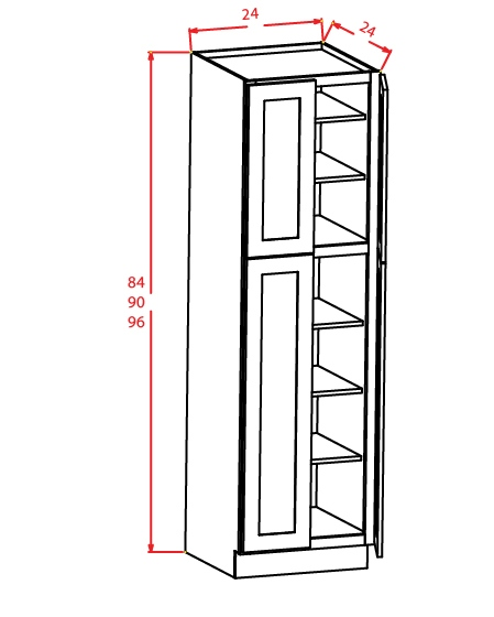 U309624 Wall Pantry Cabinet 30 inch by 96 inch by 24 inch Shaker Dusk
