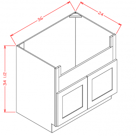 FSB36 Farm Sink Base Cabinet 36 inch Shaker Gray