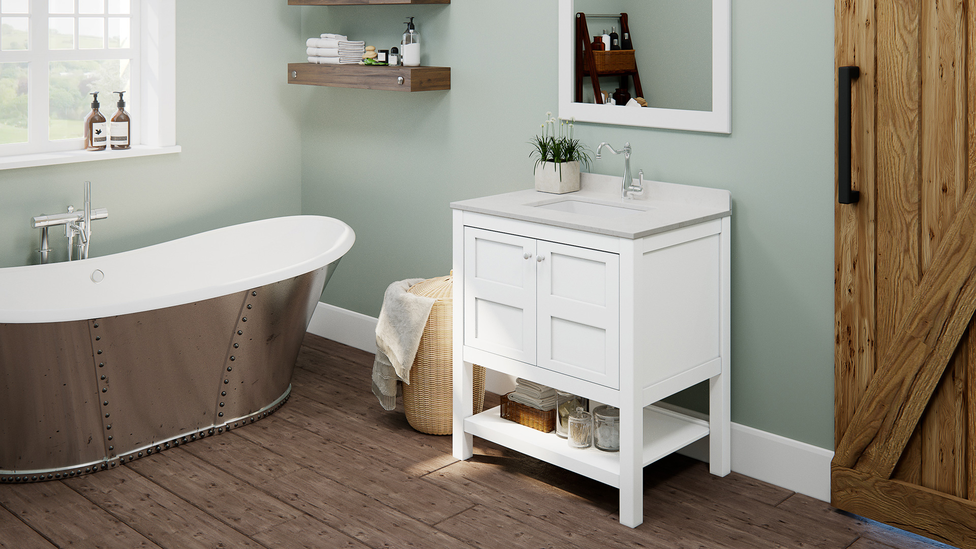 "30"" Piedmont White Furniture Vanity w/ Mirror"