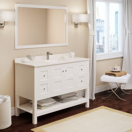 "48"" Piedmont White Furniture Vanity w/ Mirror"