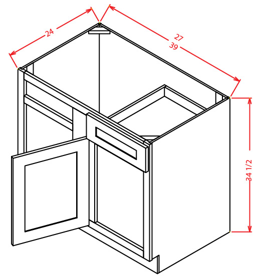 BBC42 Blind Base Cabinet 42 inch Shaker Gray