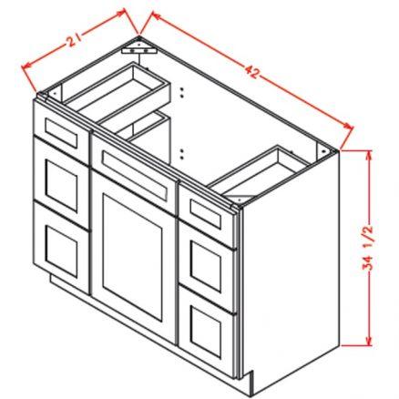 VDDB42 Vanity Double Drawer Base Cabinet 42 inch Shaker Gray