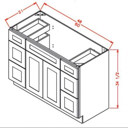 VDDB48 Vanity Double Drawer Base Cabinet 48 inch Shaker Gray