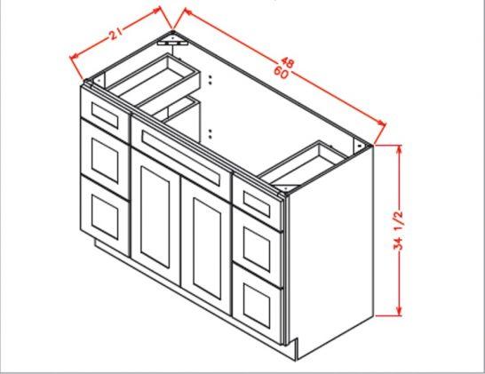 VDDB60 Vanity Double Drawer Base Cabinet 60 inch Tacoma White