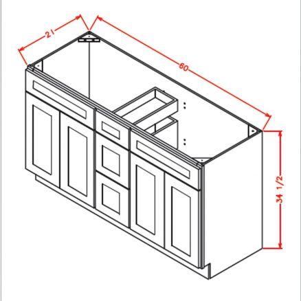 VSDB60 Vanity Double Sink Base Cabinet 60 inch Shaker Gray