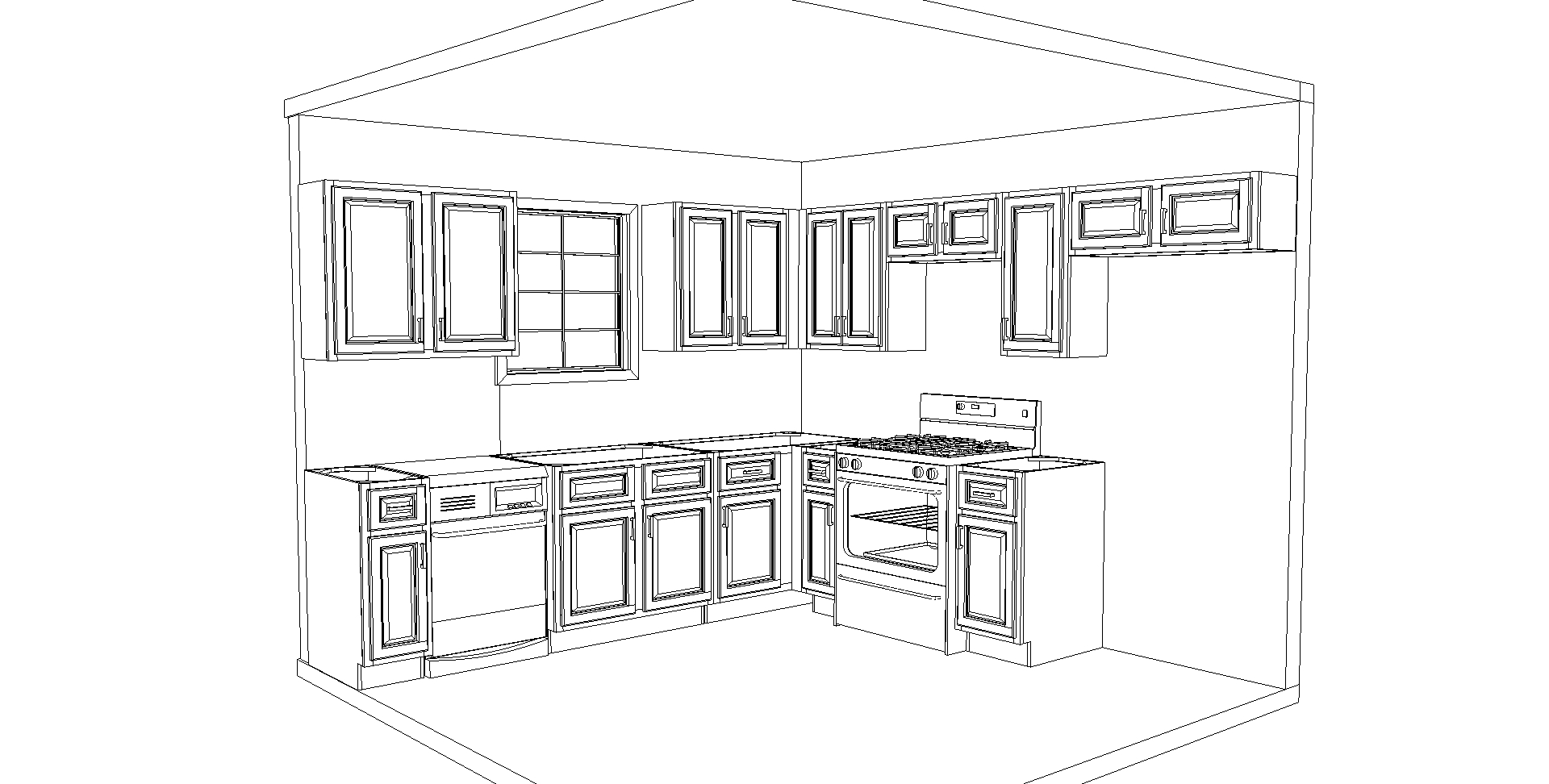 L Shape Kitchen Outline CabinetCorp