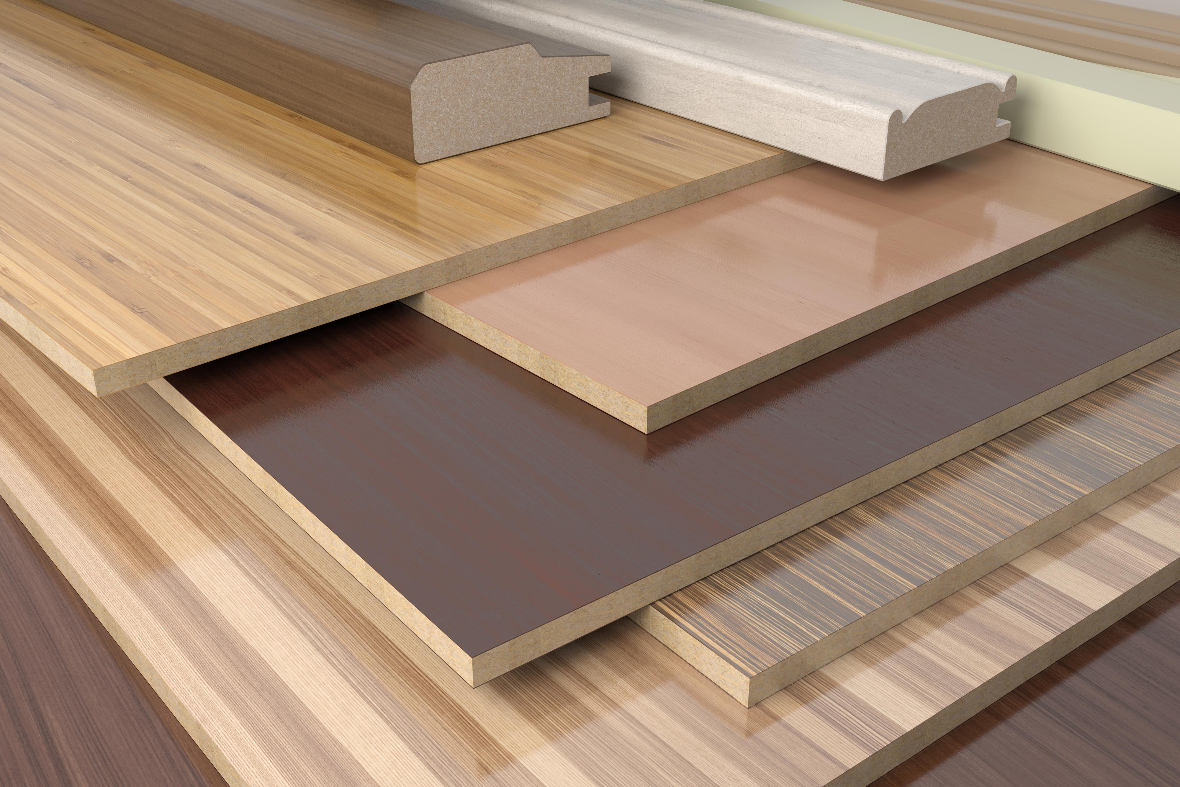 Furniture profiles with chipboards. 3d render.