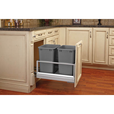 5149-18DM-217 - Double 35qt Bottom Mount w/Rev-A-Motion Slides Aluminum Frame