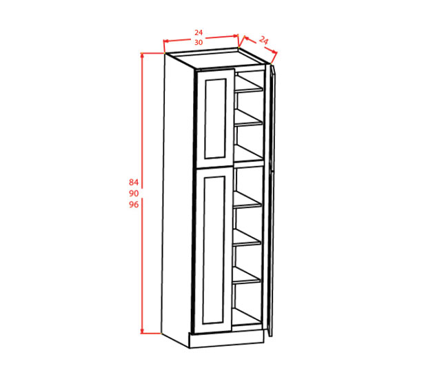 CW-U309024 - Utility Cabinets With Four Doors - 30 inch