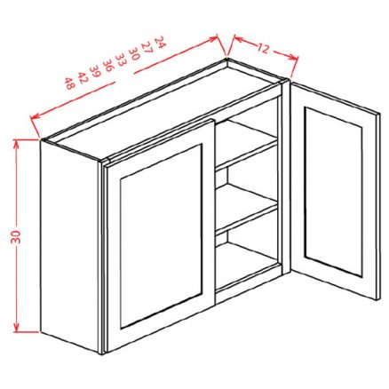 "SS-W4830 - 30"" High Wall Cabinet-Double Door  - 39 inch"