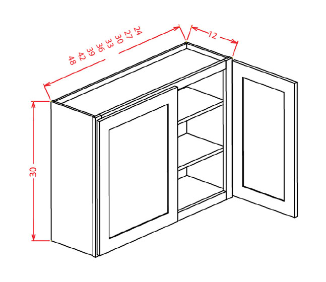 "SS-W4242 - 42"" High Wall Cabinet-Double Door  - 96 inch"