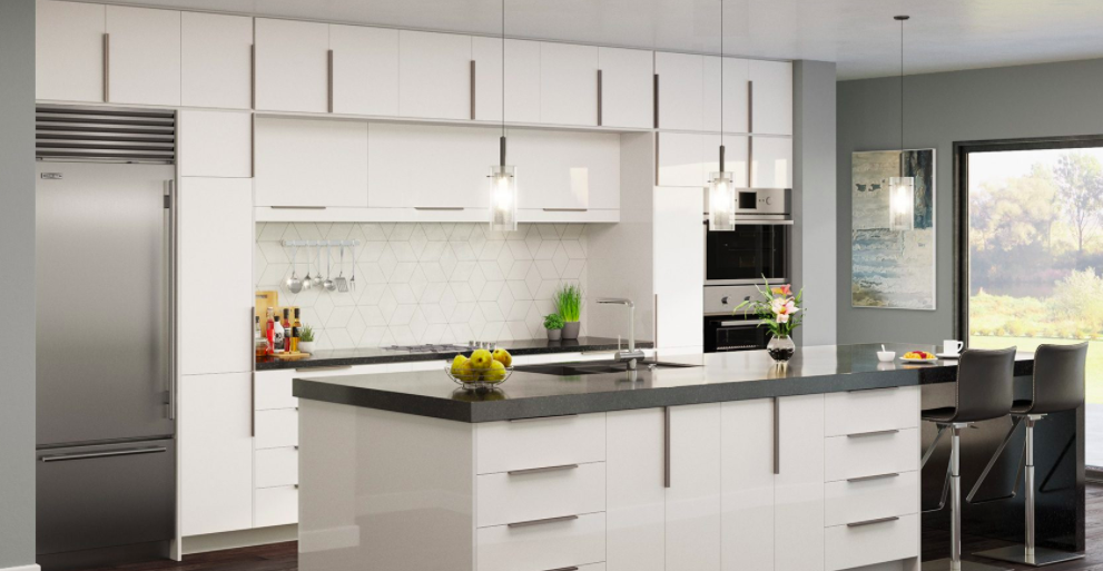 white frameless kitchen cabinet