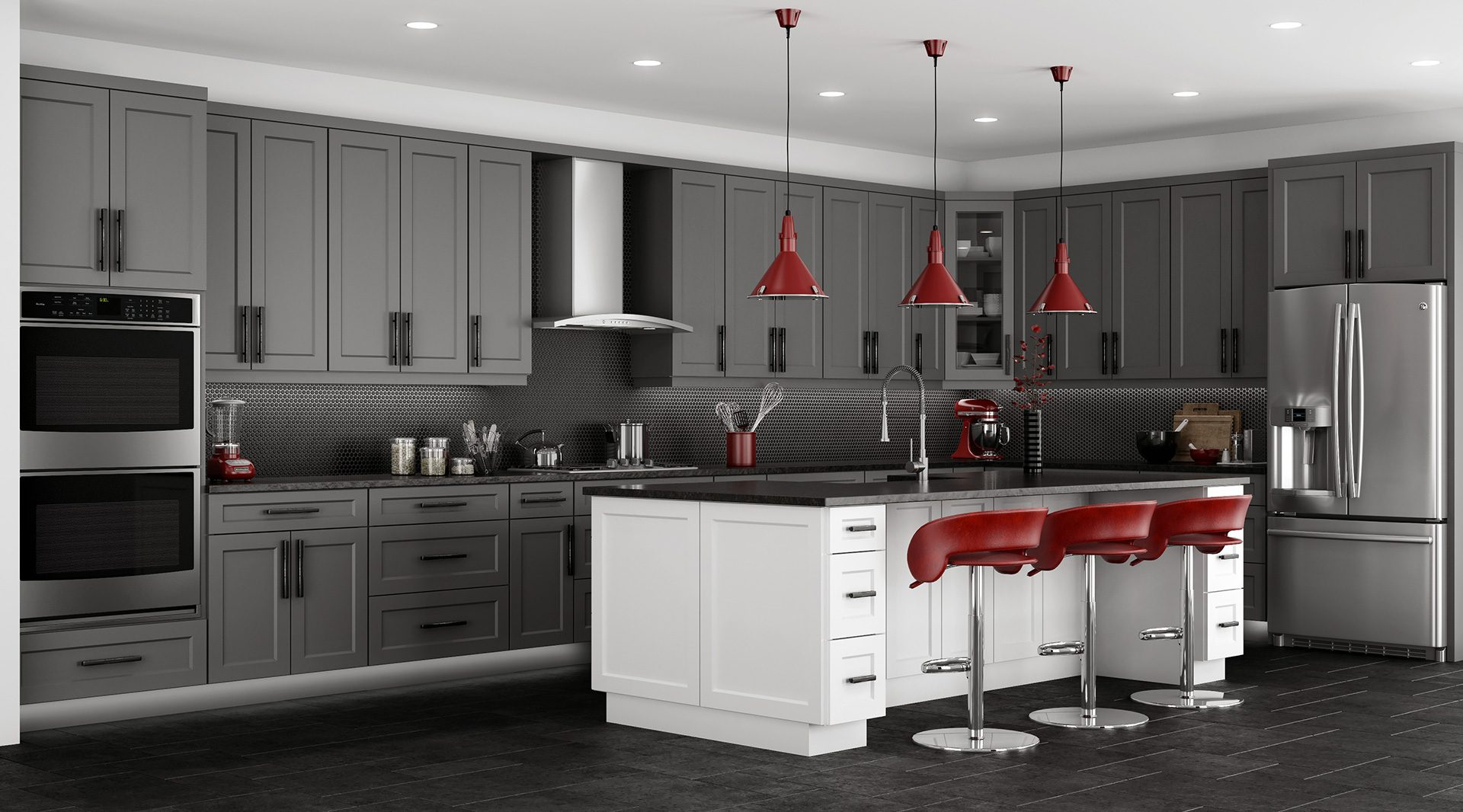 Gray and White Kitchen Cabinet