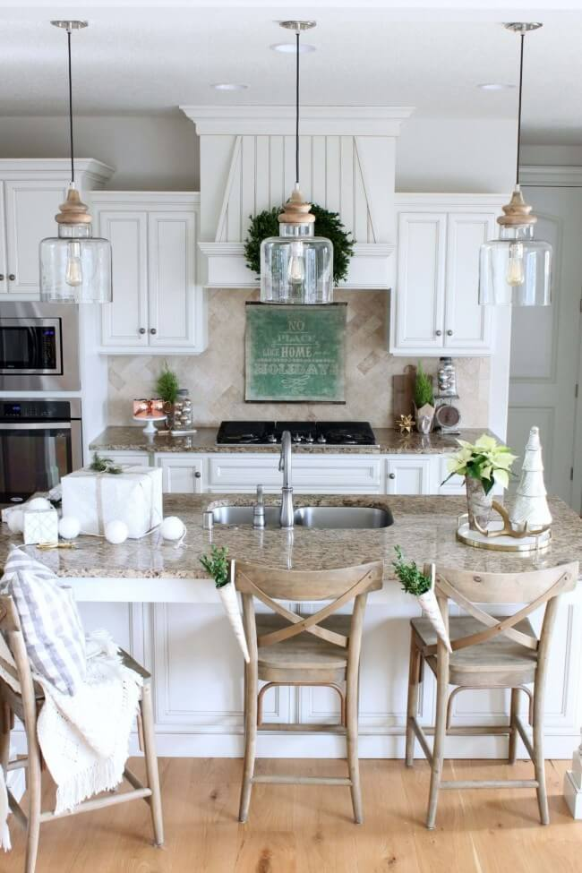 Bright white and beveling for a farmhouse kitchen