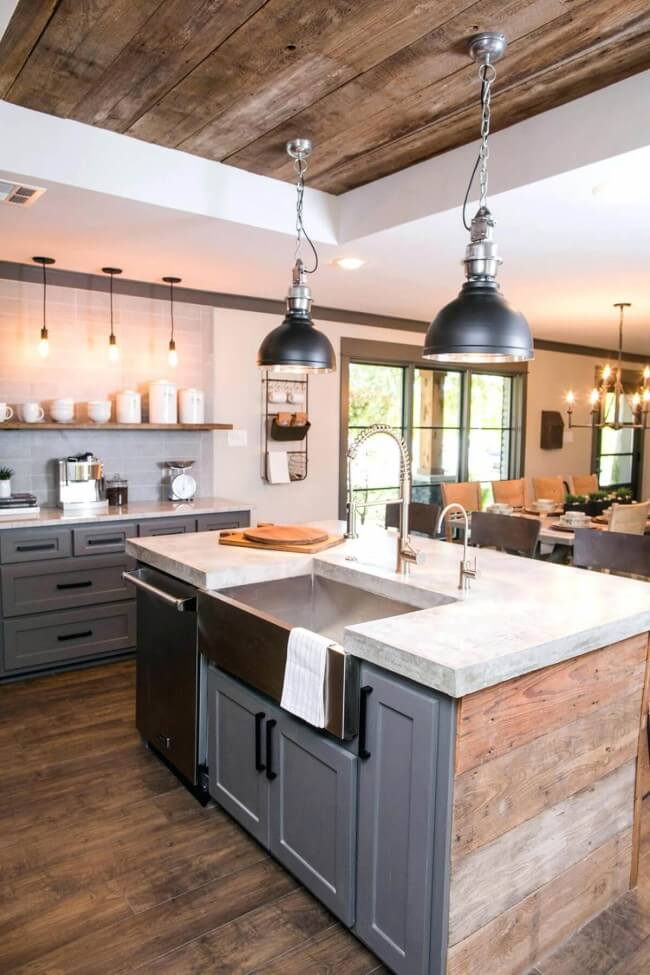 Dark grey Shaker-style cabinets with a rustic vibe