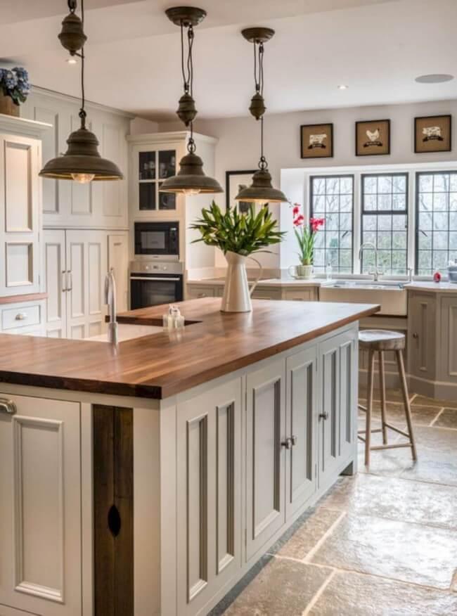 Grey farmhouse kitchen cabinets with beige undertones