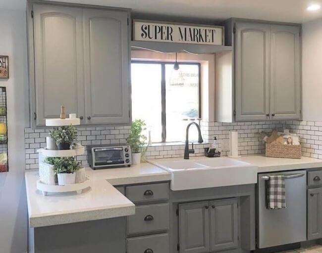Modern farmhouse light grey cabinets