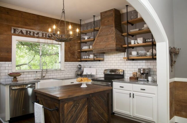 dark wood with bright white cabinets