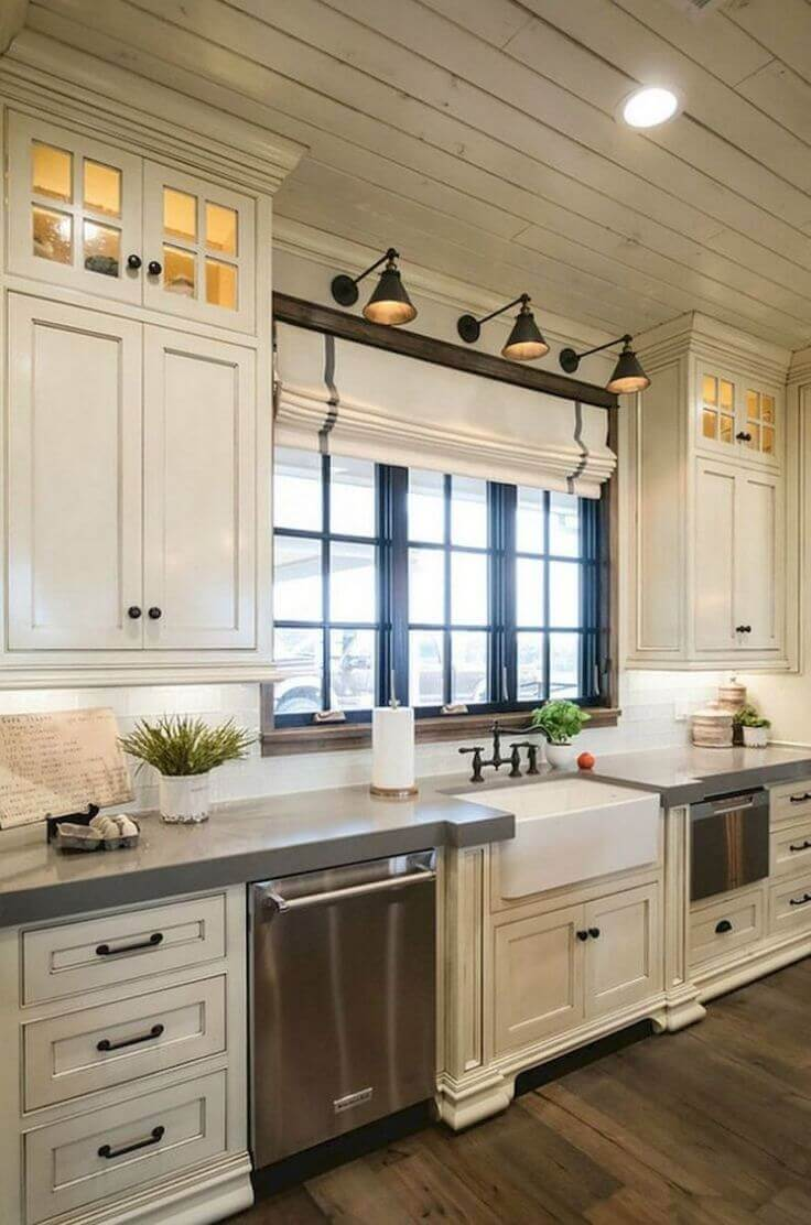 Modern antique-white cabinets with farmhouse feel