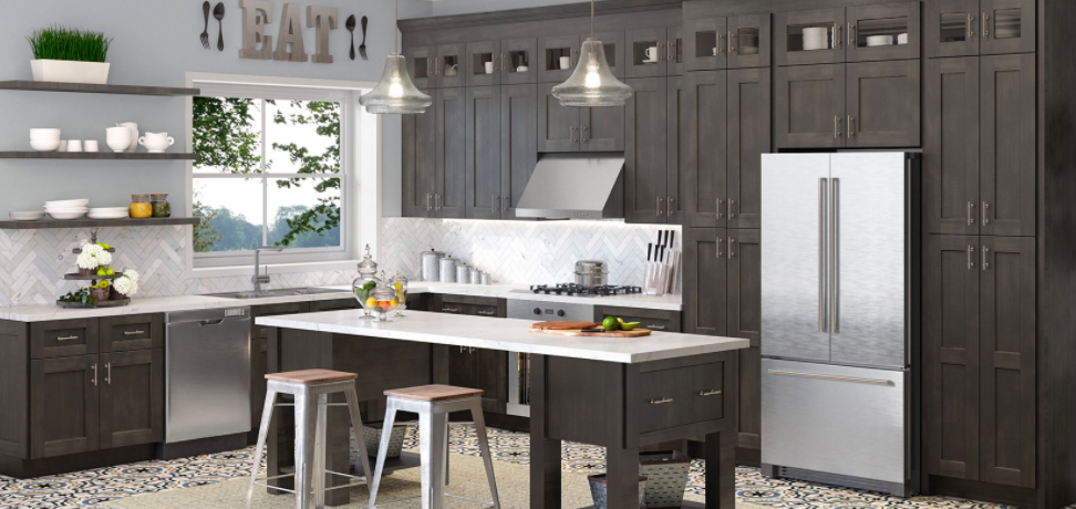 Shaker-style grey kitchen cabinets