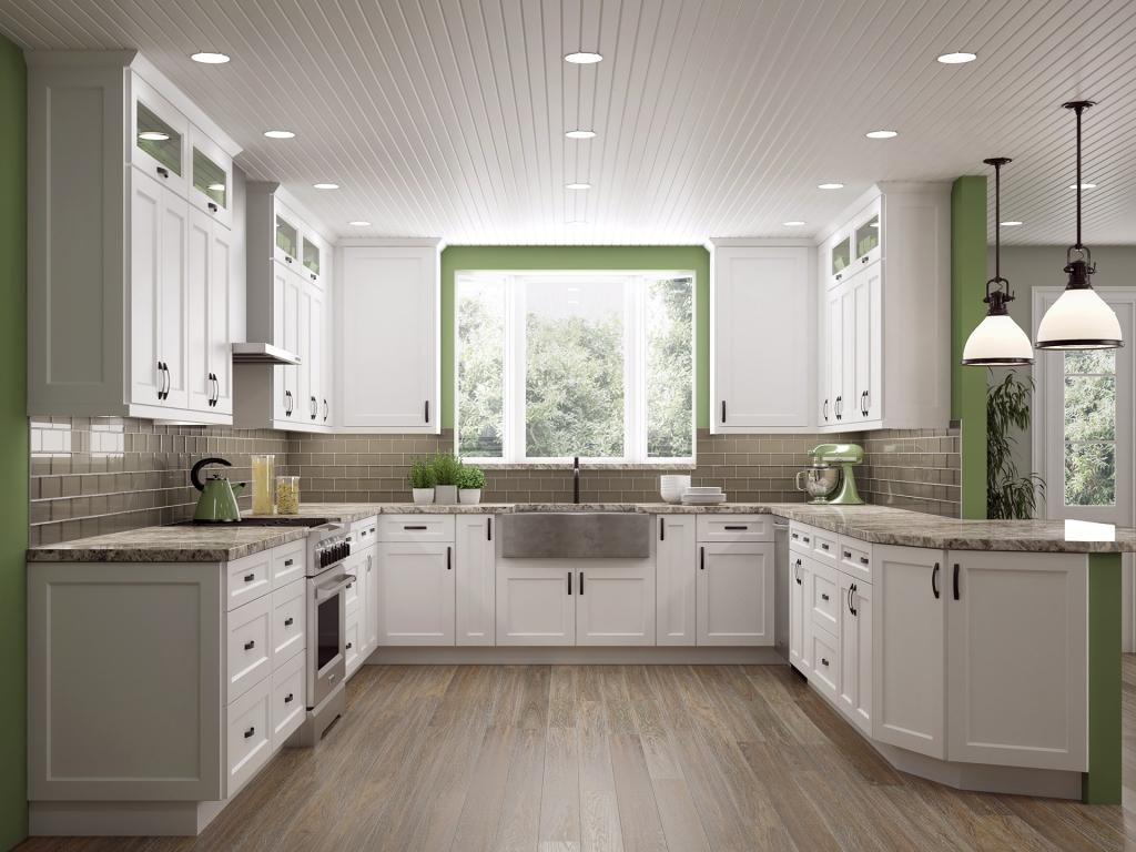 Shaker-style white kitchen cabinets