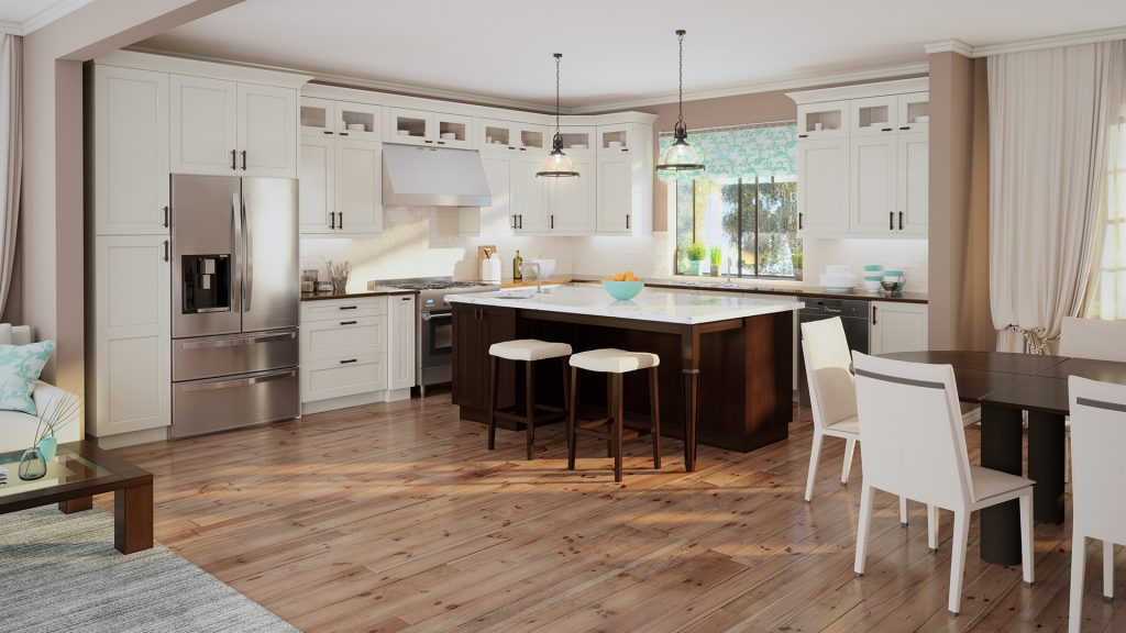 Shaker-style antique-white kitchen cabinets