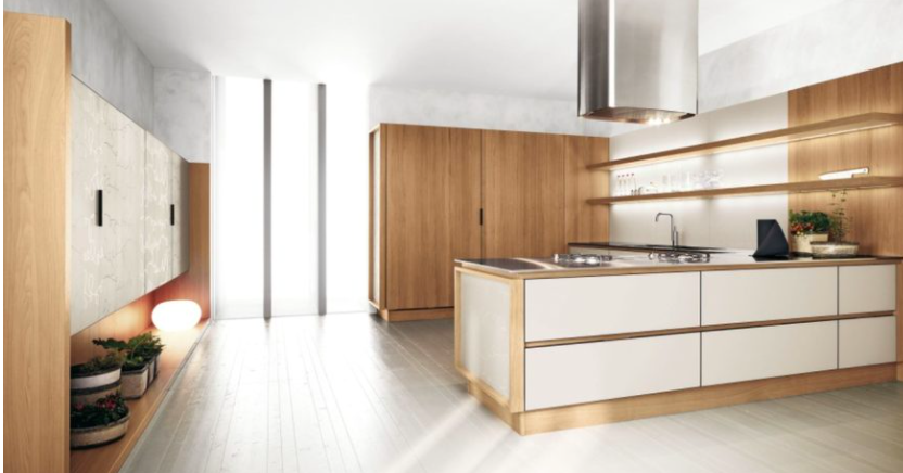 Frameless wood grain cabinets with a frameless white kitchen island