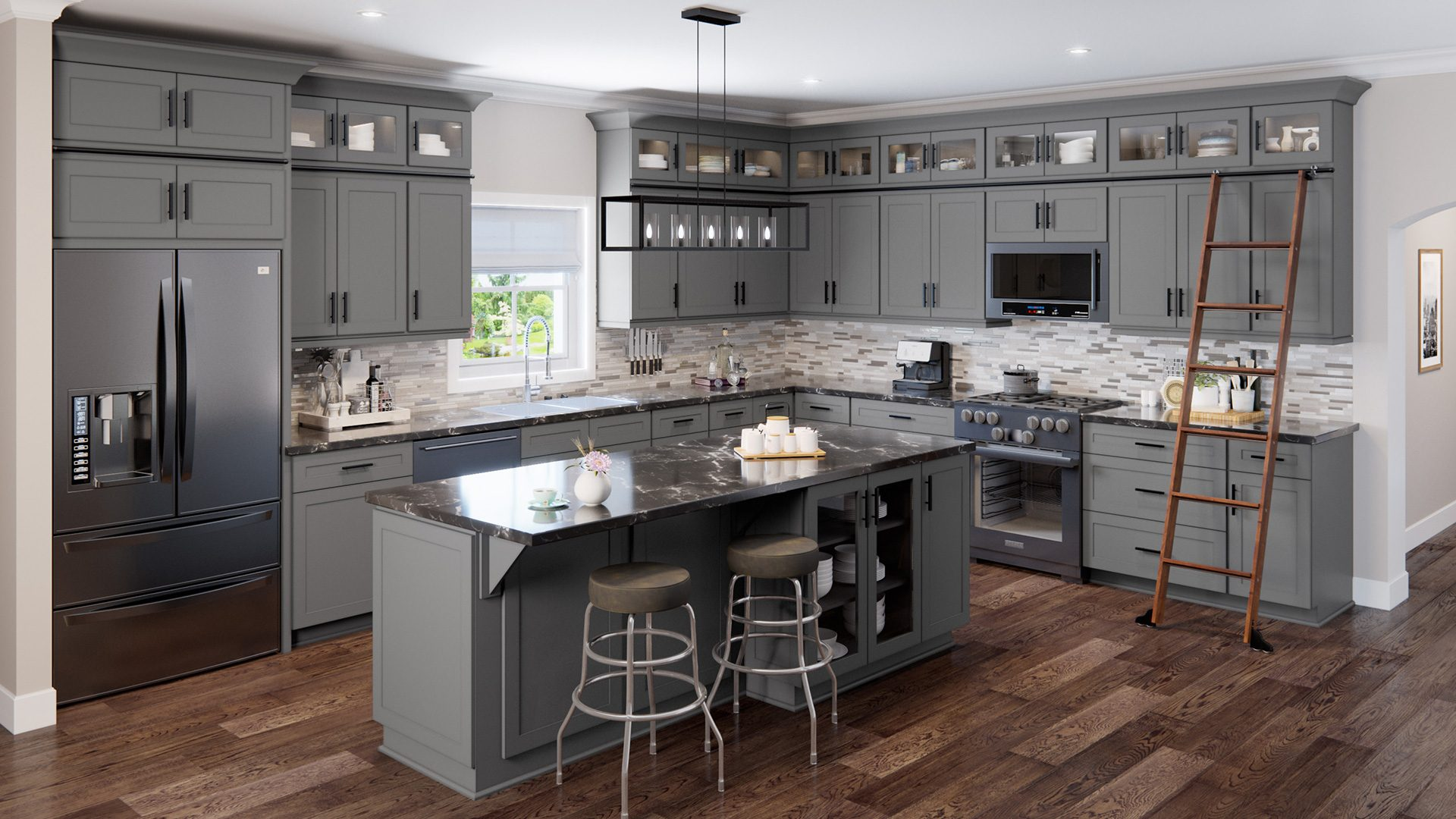 Shaker-style cabinets paired with modern appliances