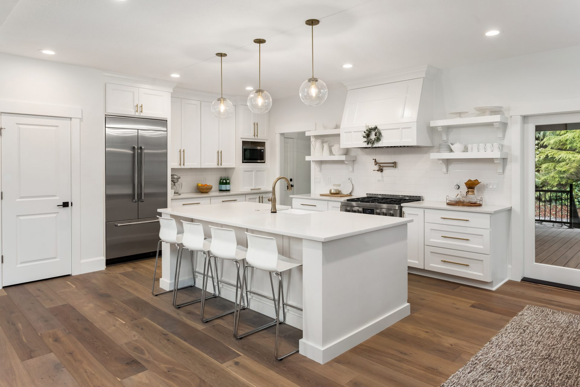 Shaker cabinets paired with open shelving
