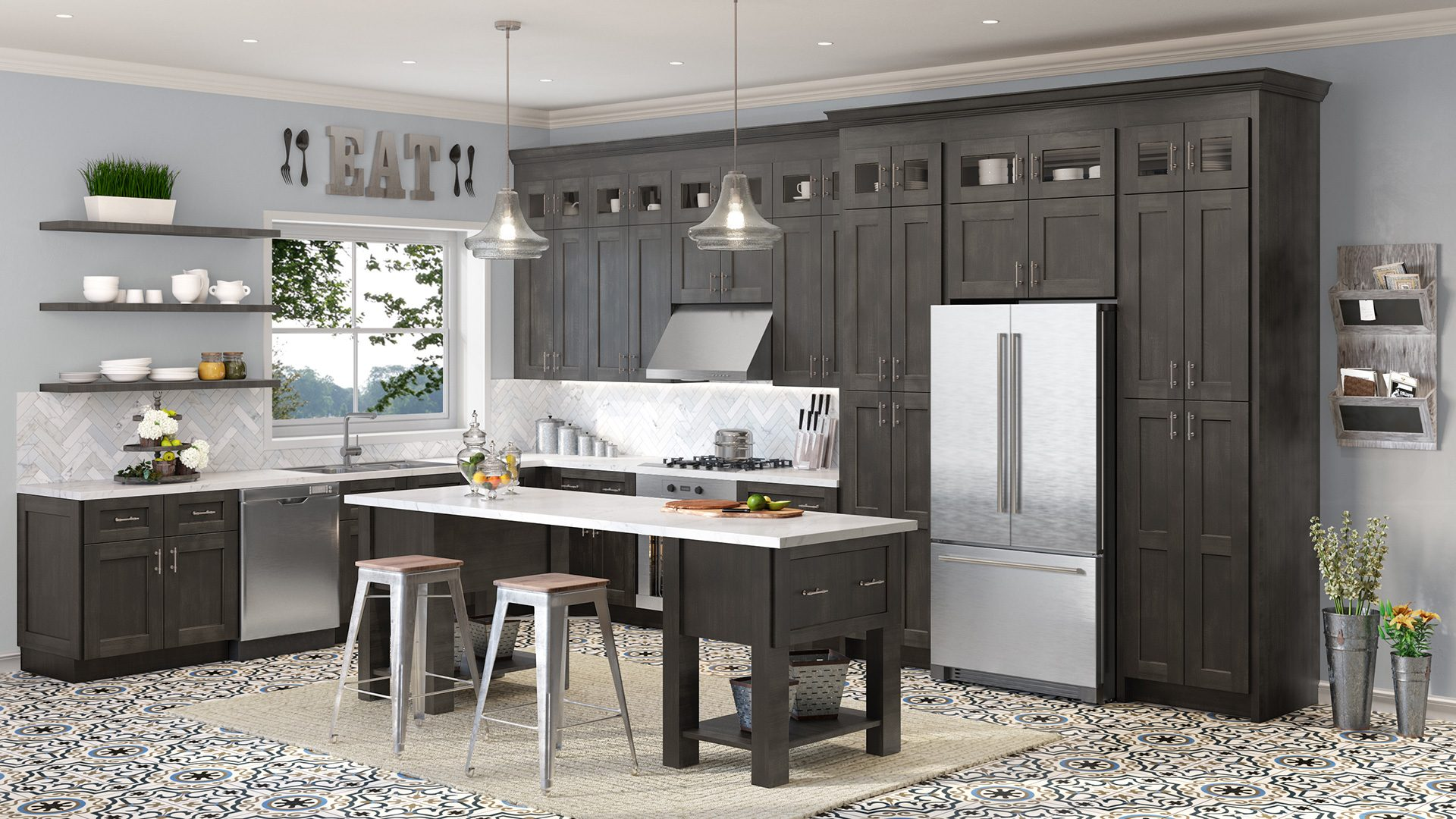 gray shaker cabinets