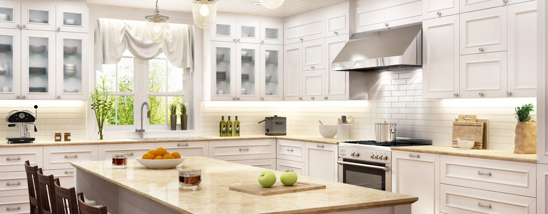 Shaker kitchen cabinets for contrast