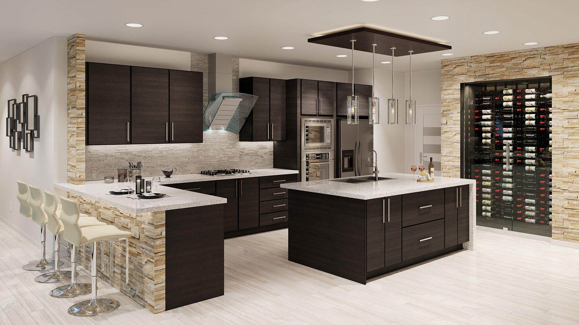 Flat-panel kitchen cabinets