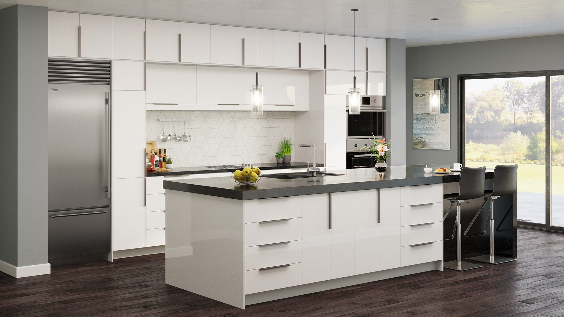 high-gloss white cabinets